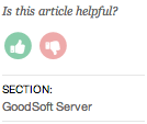 Screenshot of the sidebar showing a 'Is this article helpful, thumbs up/down' section
