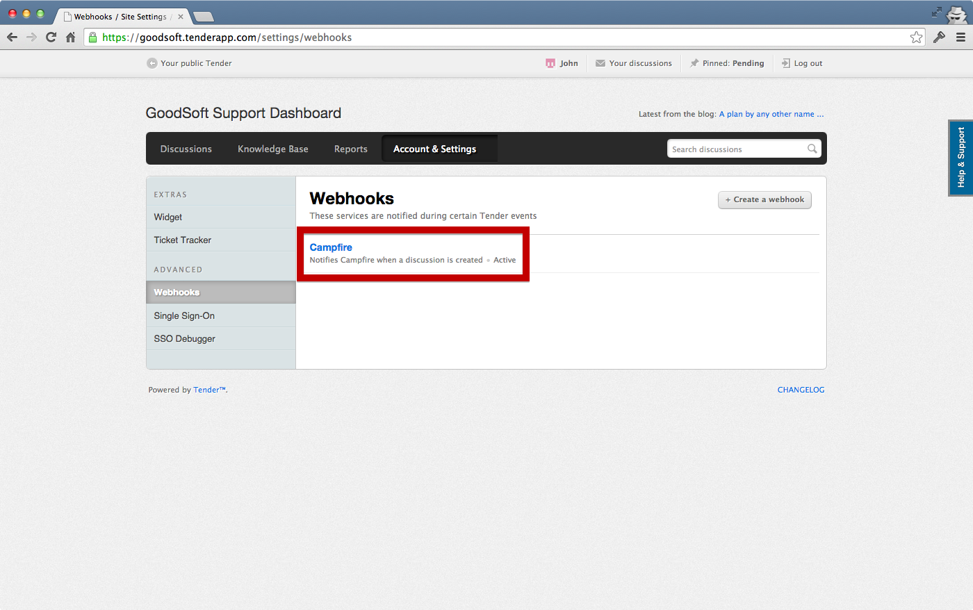 Webhook created